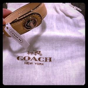 Coach leather turn lock bracelet